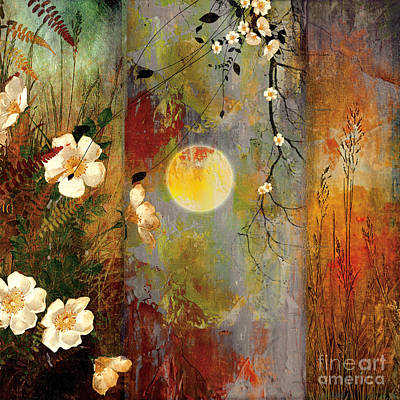 Wildlife Landscape Painting - Whisper Forest Moon II by Mindy Sommers