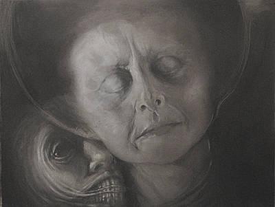 Dark Angels Drawing - Podszepty - Szkic by Graszka Paulska