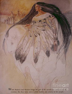 Painting - White Buffalo Calf Woman by Pamela Mccabe