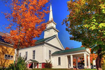 Photograph - White Church In Autumn by Joann Vitali