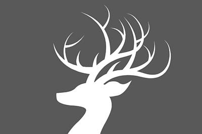 Deer Digital Art - White Deer Silhouette by Chastity Hoff