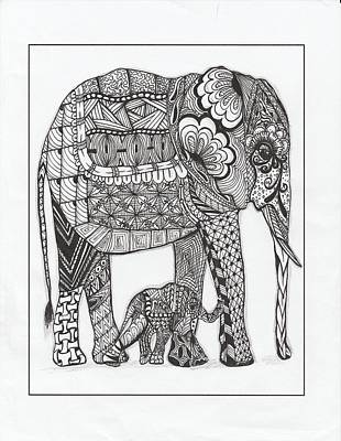 Drawing - White Elephant And Baby by Kathy Sheeran