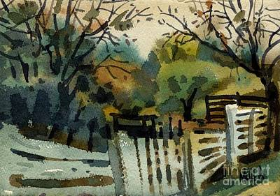 White Fence Painting - White Fence by Donald Maier