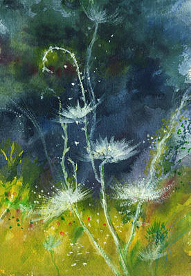 Mist Drawing - White Flowers 2 by Anil Nene