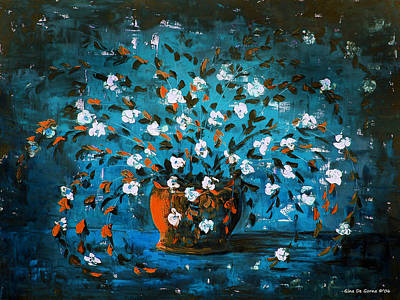 Gina Gray Painting - White Flowers 3 by Gina De Gorna