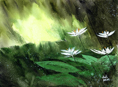 Painting - White Flowers by Anil Nene