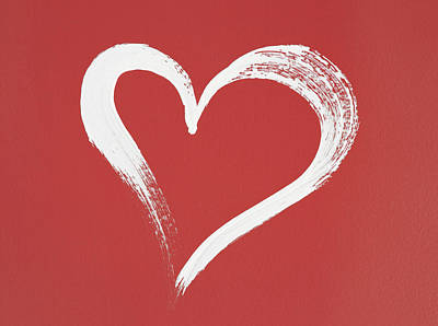 Stroke Wall Art - Photograph - White Heart Painted On Red Background by GoodMood Art