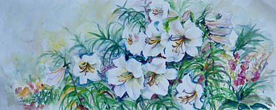Painting - White Lilies by Ingrid Dohm