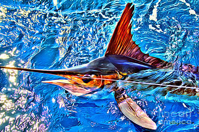 Catching Digital Art - White Marlin by Carey Chen