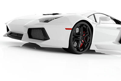 Rose - White metallic fast sports car on white background studio. Shiny by Michal Bednarek