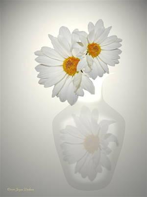 White On White Daisies Art Print by Joyce Dickens