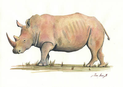 Rhinoceros Painting - White Rhino by Juan Bosco