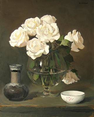 Stemware Painting - White Roses In Brandy Snifter by Robert Holden