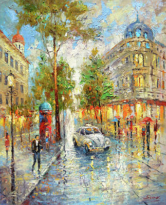 Painting - White Taxi by Dmitry Spiros