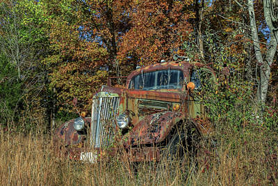 Photograph - White Truck by Jerry Gammon