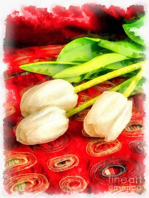 Painting - White Tulips by Edward Fielding