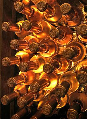 Vino Photograph - White Wine Bottles by Al Hurley