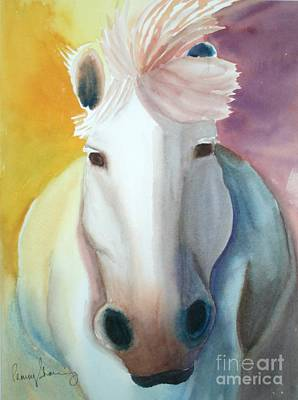 Painting - White Work Horse by Penny Stroening