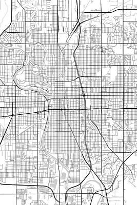 Wichita Digital Art - Wichita Kansas Usa Light Map by Jurq Studio