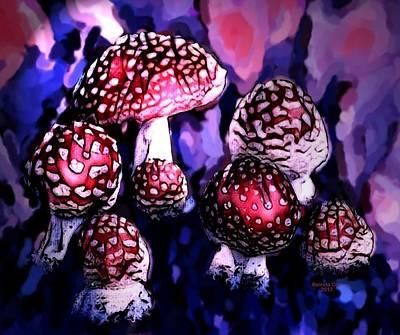 Digital Art - Wild Mushrooms by Artful Oasis