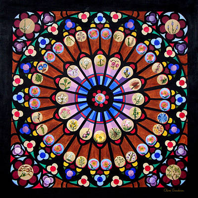 Buddhist Painting - Wild Rose Window by Clare Goodwin