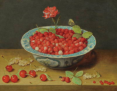 Painting - Wild Strawberries And A Carnation In A Wan-li Bowl by Jacob van Hulsdonck