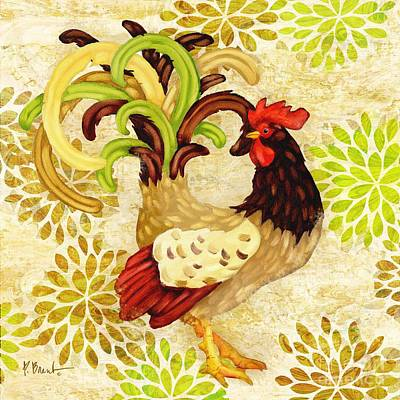 Lime Painting - Wildflower Rooster I by Paul Brent