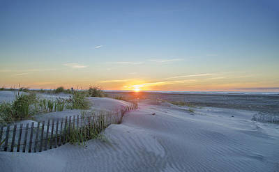 Beach Fence Digital Art - Wildwood Crest - Sunrise by Bill Cannon