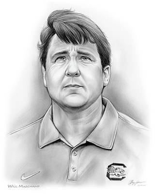 Football Drawing - Will Muschamp by Greg Joens