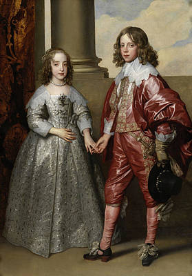 King Painting - William And His Bride Mary Stuart by Anthony van Dyck