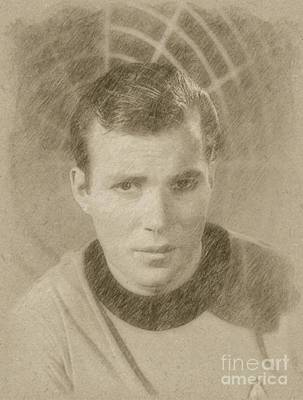 Fantasy Drawings - William Shatner Star Treks Captain Kirk by Frank Falcon