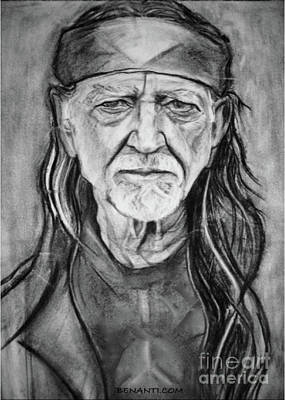 Musicians Drawings Rights Managed Images - Willie Nelson Royalty-Free Image by Dianne Lynn Benanti