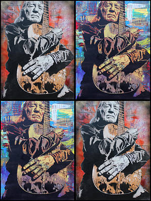 Limited Edition Mixed Media - Willie Nelson by Josh Cardinali