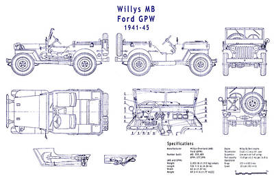Willys Jeep Blueprint Art Print by Jon Neidert