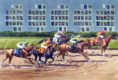 Painting - Win Place Show At Del Mar by Mary Helmreich