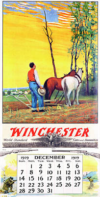 Painting - 1919 Winchester Repeating Arms And Ammunition Calendar by Robert Wesley Amick