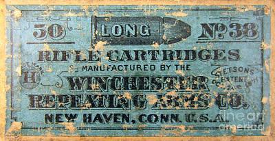 Winchester Rifle Cartridges Sign Art Print by Jon Neidert