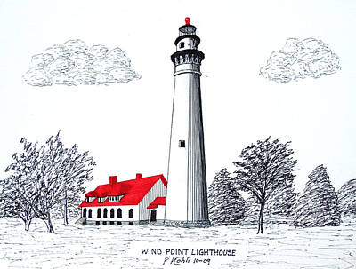 Lake Michigan Drawing - Wind Point Lighthouse by Frederic Kohli