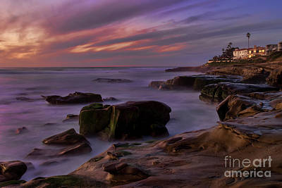 Art Print featuring the photograph Windansea Beach At Dusk by Eddie Yerkish