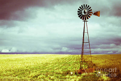 Storms Photograph - Windmill Against Autumn Sky by Gordon Wood