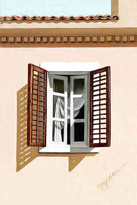 Shutters Painting - Window Above Athens - Prints From Original Oil Painting by Mary Grden Fine Art Oil Painter Baywood Gallery