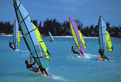 Photograph - Windsurfers In Nassau by Carl Purcell