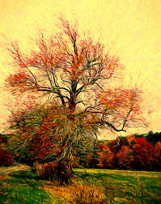 Plein Air Mixed Media - Windy Autumn Tree by Lilia D