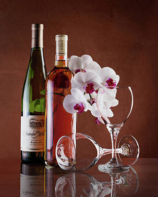 Wine And Orchids Still Life Art Print