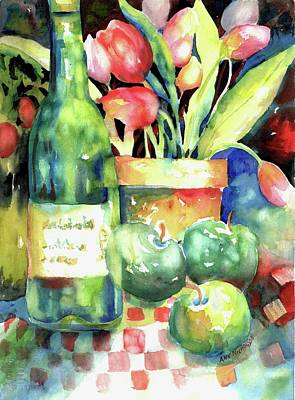 Painting - Wine And Tulips by Ann Nicholson
