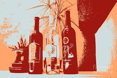 Wine Rack Painting - Wine Bottles by RJ Aguilar