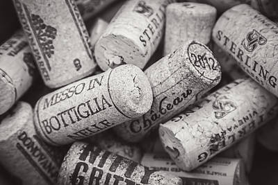 Wine Corks Black And White Art Print