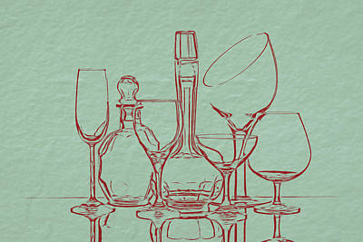 Wine Decanters With Glasses Art Print
