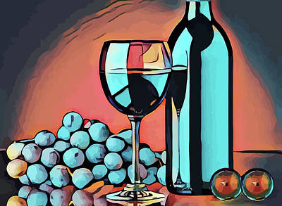 Wine Glass Bottle And Grapes Abstract Pop Art Art Print