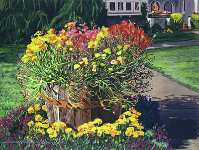 Pathway Painting - Winebarrel Garden by David Lloyd Glover